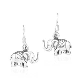 Mini Royal Thai Elephant Sterling Silver Dangle Earrings (Thailand)