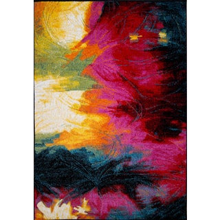 Machine-Made Pop Abstract Brush Polypropylene Rug (5'2 x 7'2)