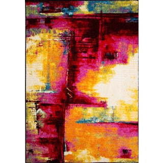 Machine-Made Pop Abstract Color Block Polypropylene Rug (5'2 x 7'2)