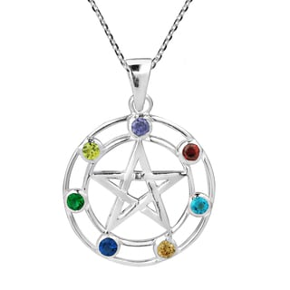 Multicolored Pentagram Cubic Zirconia .925 Silver Necklace (Thailand)