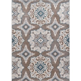 Machine-Made Bronx Taupe Blue Polypropylene Rug (7'10 x 10'5)