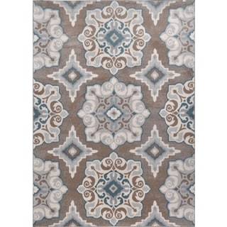 Machine-Made Bronx Taupe Blue Polypropylene Rug (5'3 X 7'2)