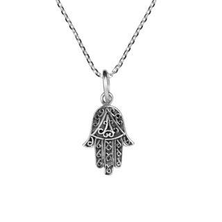 Swirl Accents Hamsa Hand Sterling Silver Necklace (Thailand)