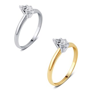 Divina 14K Gold 1/3ct TDW Marquise-Cut Solitaire Diamond Engagement Ring.(J,I2).