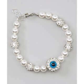 Swarovski White Pearls and Sterling Silver and Blue Beads with Blue Chamsa Hand Charm Baby Bracelet