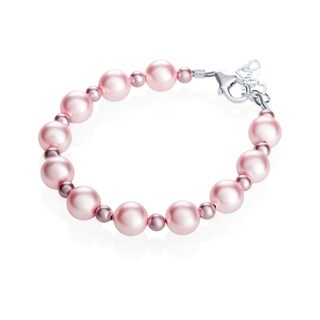 Crystal Dream Luxury Swarovski Element Pearl and Crystal Sterling Silver Infant Girl Bracelet