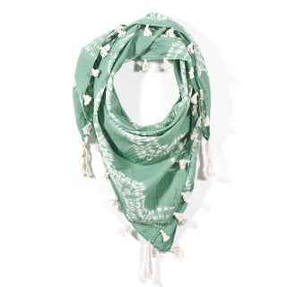 Shibori Square Scarf - Fields of Green (India)