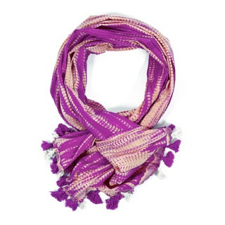 Shibori Triple-Dye Ripple Scarf - Pink (India)