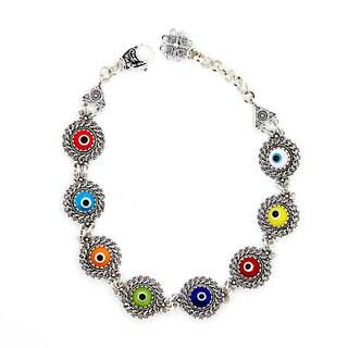 Sterling Silver Filigree 7-inch Multicolored Evil Eye Bracelet