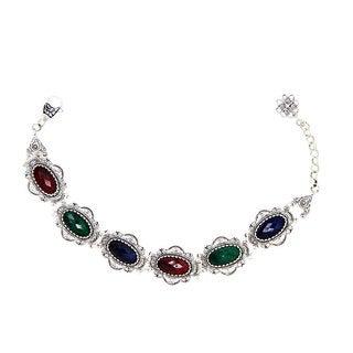 Sterling Silver Ruby Sapphire Green Sapphire 7-inch Filigree Bracelet