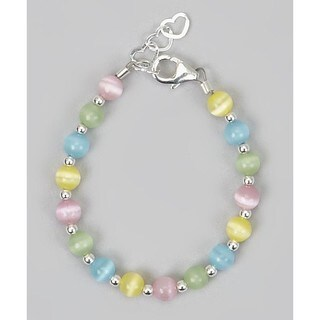 Multi-Colored Sterling Silver Beads Baby Bracelet