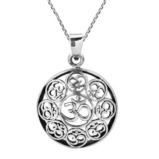 Encircled Aum Ohm Spiritual Zen Sterling Silver Necklace (Thailand)