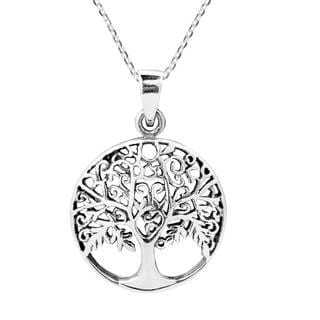 Handmade Flourishing Fruitful Tree of Life Sterling Silver Necklace (Thailand)