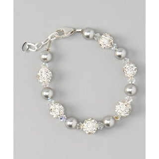 Crystal Dream Luxury Swarovski Grey Pearls and Clear Crystals with White Pave Beads Unisex Baby Bracelet