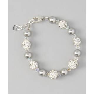 Crystal Dream Luxury Swarovski Element Grey Pearls and Clear Crystal with White Pave Beads Unisex Baby Brac|https://ak1.ostkcdn.com/images/products/12352629/P19180648.jpg?impolicy=medium