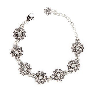 Sterling Silver Pearl 7-inch Filigree Bracelet