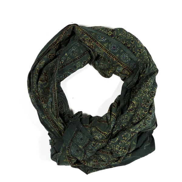 Handmade Printed Cotton Voile Stole - Green (India)