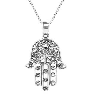 Handmade Hamsa Hand of Fatima with Evil Eye Sterling Silver Necklace (Thailand)