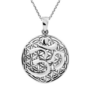 Aum or Ohm on Flower of Life .925 Sterling Silver Necklace (Thailand)