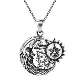 Handmade Celestial Embrace Sun Moon and Star .925 Silver Necklace (Thailand)