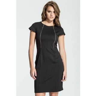 Amelia Ponte Sheath Dress with Zippers