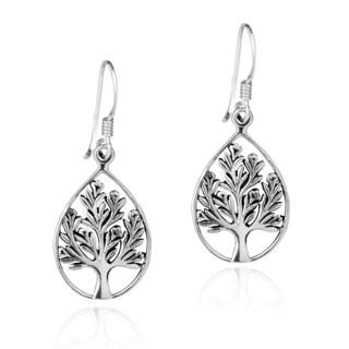 Handmade Nourishing Tree of Life Sterling Silver Dangle Earrings (Thailand)