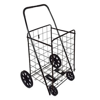 DLUX Black Folding Shopping Cart with Strong Frame and Solid Rubber Tires with Bonus Free Black Liner