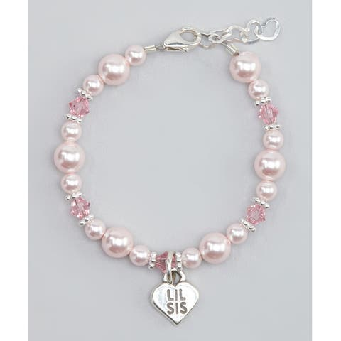 Crystal Dream Luxury Pink Crystals Little Sister Sterling Silver Child Bracelet