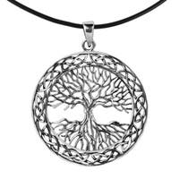 Handmade 40mm Tree of Life Celtic Frame .925 Silver Rubber Necklace (Thailand)