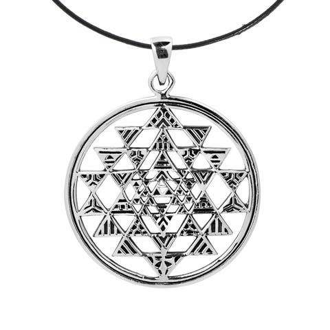 Handmade Sri Yantra Chakra Geometry .925 Silver Cotton Necklace (Thailand)