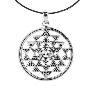 Handmade Sri Yantra Chakra Geometry 925 Silver Cotton Necklace Thailand