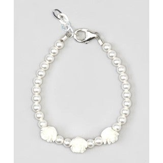 Crystal Dream Sterling Silver White Pearl Flower Girl Baby Bracelet