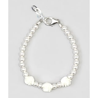 White Flower Girl Baby Bracelet Sterling Silver