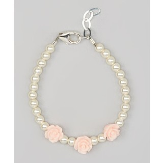 Crystal Dream Luxury Pink Flower Girl Toddler Sterling Silver Bracelet
