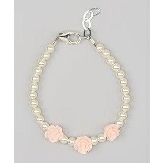 Crystal Dream Luxury Pink Flower Girl Toddler Sterling Silver Bracelet