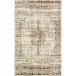 Turkish Cambridge Off-White Polypropylene Rug (4' 11 x 8')