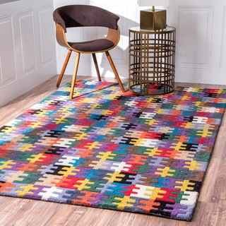 nuLOOM Handmade Wool Puzzle Kids Multi Rug (7'6 x 9'6)