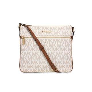 Michael Kors Bedford Vanilla Signature Flat Crossbody Handbag