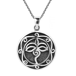 Wisdom Eye of Buddha .925 Sterling Silver Necklace (Thailand)