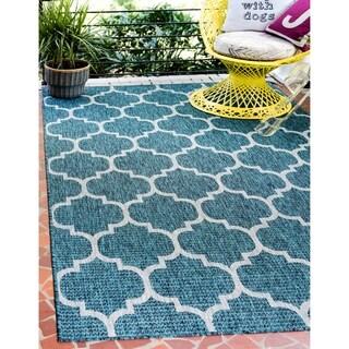 Turkish Indoor/Outdoor Trellis Blue Polypropylene Rug (6' x 8' 11)