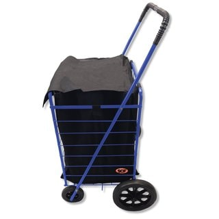 SCF MegaCart Fold-Up Blue Collapsible Shopping Utility Cart with Liner
