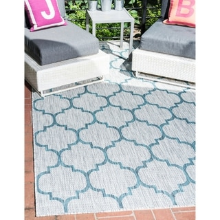 Turkish Indoor/Outdoor Trellis Grey Polypropylene Rug (6' x 8' 11)