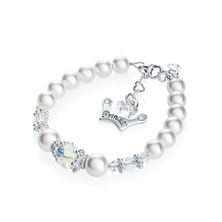Crystal Dream Swarovski White Pearls and Clear Crystals with Sterling Silver Princess Crown Charm Infant Bracelet