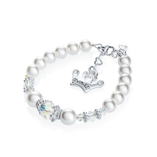 Crystal Dream Swarovski Element White Pearls and Clear Crystal with Sterling Silver Princess Crown Charm In