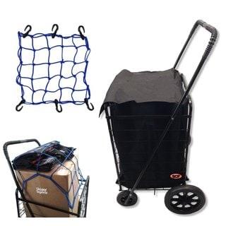 SCF Black Standard Jumbo Utility Grocery Cart With Bonus Cargo Bungee Net