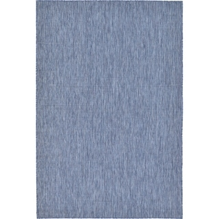 Turkish Indoor/Outdoor Solid Blue Polypropylene Rug (6' x 8' 11)