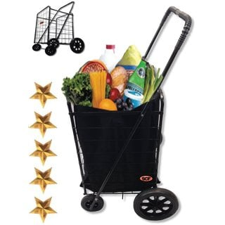 SCF MegaCart Black Fold-up Collapsible Grocery/Laundry/Shopping/Utility Cart with Liner