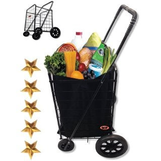 SCF Black Extra-large Heavy-duty Black Folding Utility Cart/Rolling Storage Shopping Carrier with Bonus Liner
