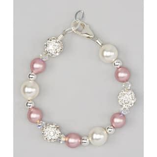 Rose and Ivory Pearls with White Pave Beads Baby Bracelet|https://ak1.ostkcdn.com/images/products/12352881/P19180957.jpg?impolicy=medium