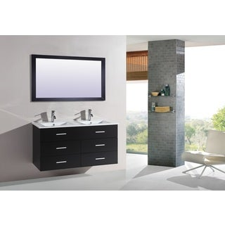 Legion Furniture Espresso-finished Wood/MDF/Glass Double Bathroom Vanity
